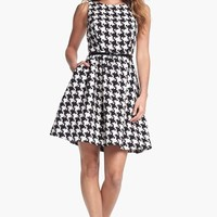 Jessica Simpson Houndstooth Jacquard Fit & Flare Dress | Nordstrom