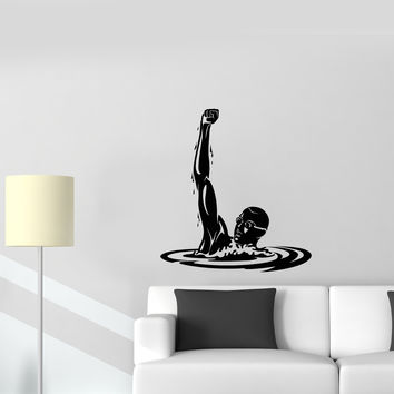 Wall Decal Winner Athlete Sport Swimming Pool Olympic Games Vinyl Sticker Unique Gift (ed661)