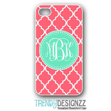 iPhone case, Personalized iPhone case, iPhone 4 case, iPhone 5 case, Samsung S3 S4, Coral Moroccan Trellis Mint Monogram, Phone Cover (1220)