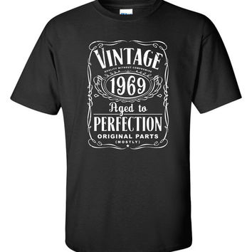 45th Birthday Gift For Men and Women - Vintage 1969 Aged To Perfection Mostly Original Parts T-shirt Gift idea. More colors available S-14