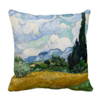 Wheat Field with Cypresses by Vincent Van Gogh Pillow