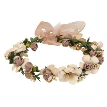 Fashion Flower Garland Handmade Fabric Rose Beaded Wedding Party Ribbon Headband for Bridesmaid