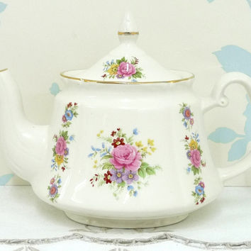 Price Kensington Teapot with Lid, Oporto Shape, Spring Flowers Spray, Roses, Gilding, Hand Finished, Made in England, Cottage chic