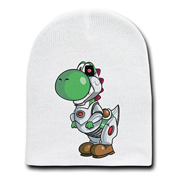 'Plumbers League of America' Robotic One Eyed Character Funny Parody - White Adult Beanie Skull Cap Hat