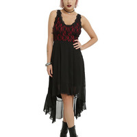 Royal Bones By Tripp Red & Black Lace Hi-Low Dress