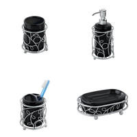 Twigz Bath Collection, Black/Silver, 4-Piece Set