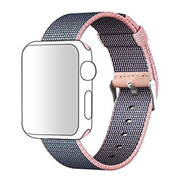 Sworddy Woven Nylon Smoothy and Breathable Ultra-thin Replacement Band for Apple Watch with Secure Square Stainless Steel Buckle [38MM Midnight blue/Light Pink]