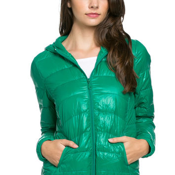 Lightweight Puffer Down Hooded Jacket Green