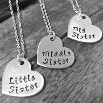 "Little Sister Middle Sister Big Sister"" Necklace Set Of 3 FREE + Shipping"