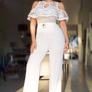 Olivia White Off Shoulder Ruffle Frill Palazzo Jumpsuit