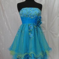 185 Turquoise Lace Layers Short Prom Dress