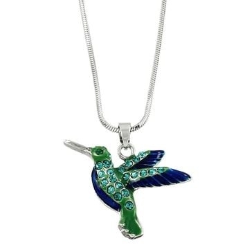 Vibrant Hummingbird Charm Necklace