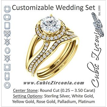 CZ Wedding Set, featuring The Gabrielle Mia engagement ring (Customizable Round Cut Design with Halo & Accented Three-sided Wide Split Band)