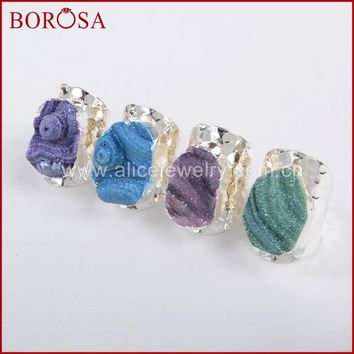 BOROSA 5pcs Silver Color Galaxy Quartz Titanium Rainbow Chalcedony Band Ring Druzy for Women, New Arrival Drusy Stone Ring S1339