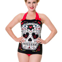 "Women's ""Sugar Skull"" Swimsuit (Red)"