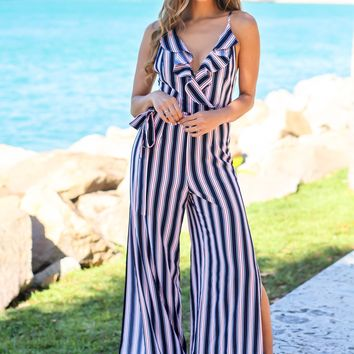 Navy Striped Jumpsuit with Criss Cross Back