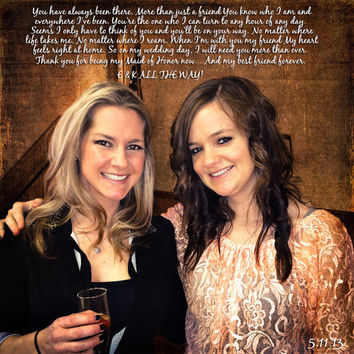 Sister Best Friends Maid Of Honor Photo Art Custom Photo Editing