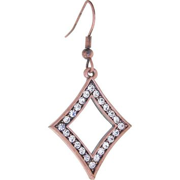 ELLE? Jewery Antique Copper Crystal Rhinestone DIAMOND Earrings