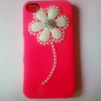 iphone 4s case cover white beads flower red hard case cover for iphone 4G 4GS AB47