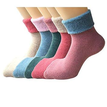 Weeno Women's Casual Thick Knit Warm Wool Crew Winter Socks - 5 Pack