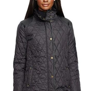 Women's Lauren Ralph Lauren Faux Leather Trim Quilted Jacket,