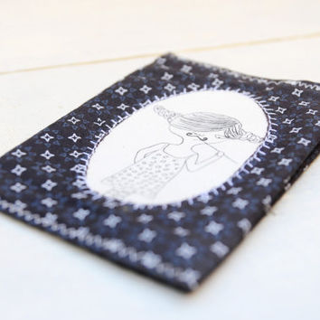 Girl with moustaches Passport cover by Kimuka on Etsy