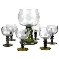 1960s Vintage Etched Wine Glasses Austrian Römer Set Grape Pattern Green Stems