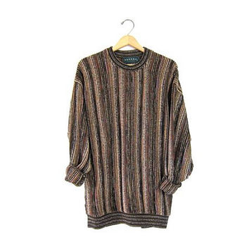Vintage abstract retro sweater. Oversized 90s TUNDRA Cosby sweater. Textured crazy knit pullover Jumper. men's size Large