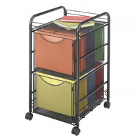 "Onyx Mesh File Cart with Two File Drawers (Black) (27""H x 15.75""W x 17""D)"