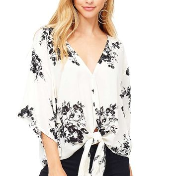 Rose Ink Front-Tie Blouse