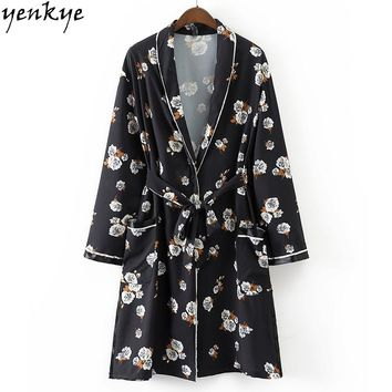 Autumn Women Floral Printed Long Sleeve Open Stitch Loose With Belt Black Coat