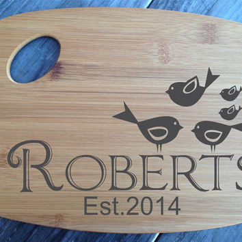 Personalized Bird Family Laser Engraved Bamboo Cutting Board Wedding Gift