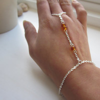 Slave bracelet, silver hand chain, hand jewellery, finger chain, amber bracelet, jewellery uk