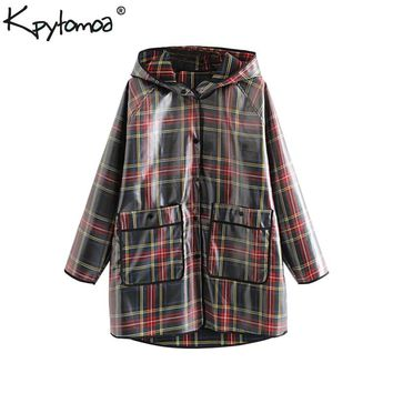 Vintage Chic Pockets Plaid Loose Raincoat Women 2018 Fashion Hooded Collar Long Sleeve Ladies Outerwear Casual Waterproof Coat