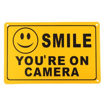 2Pcs SMILE YOU'RE ON CAMERA Warning Security Yellow Sign CCTV Video Surveillance Camera Sticker