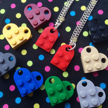 Love Heart Friendship Necklaces- Set of 2 Necklaces...Handmade using LEGO® parts