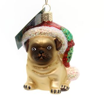 Old World Christmas Holly Hat Pug Glass Ornament