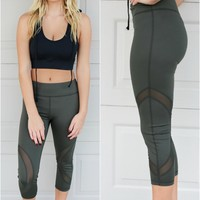 Get Going Active Mesh Paneled Olive Leggings