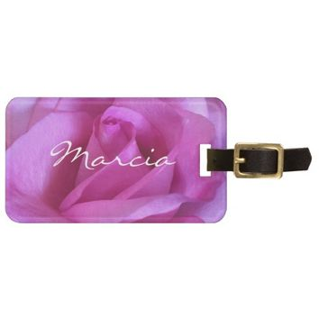 Hot pink purple rose photo custom name luggage tag