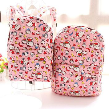 New Kawaii Moon Stars Hello Kitty Printing Canvas Children Bag Pink Casual Backpack Sac a main Girls Travel Storage Bag mochila