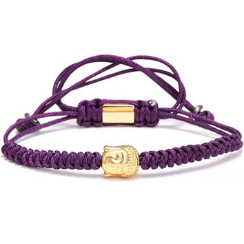 Men Bracelets,4mm 28K Gold Round Beads and Buddha Head Bead Braiding Macrame Bracelet For Men Braided Rope Friendship Bijoux purple
