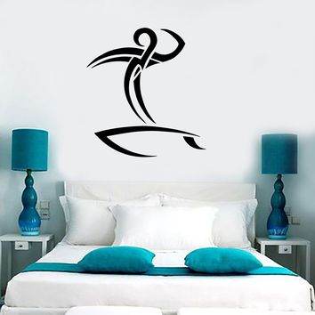 Wall Vinyl Sticker Decal Surfer Surfboard Watersport Beach House Decor Unique Gift (m278)