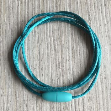 YUMUZ 35 Inch Teal Green Soft Satin Cords with Breakaway Clasps 2mm Knotting Cords for Teething Pendant Necklace Jewelry 10pcs