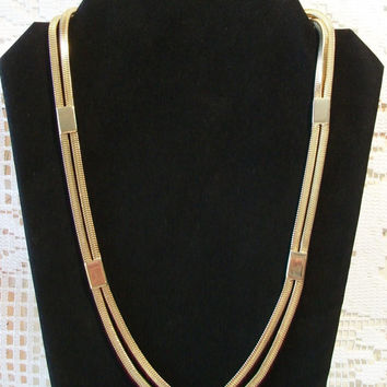 Vintage Park Lane Double Strand Necklace Square Snake Link Chain Costume Jewelry Gold Tone