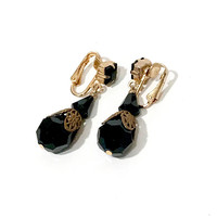 Black Filigree Drop Earrings, Victorian Revival Crystal Bead Dangle Earrings, Clip ons, Gold Tone Scalloped Cap, 1960's Vintage Gift For Her