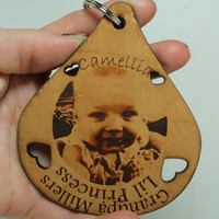 Photo key chain Engraved Leather Personalized key chain