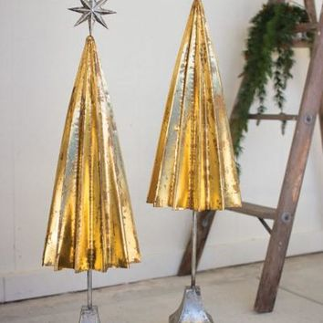 Set Of 2 Folded Gold Metal Trees With Silver Star