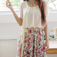Butterfly Sleeve Floral Printed Chiffon Dress