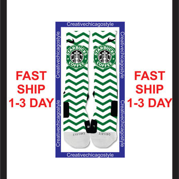 Custom Nike Elite Socks Starbucks pattern