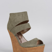 Qupid Ankle Cuff Peep Toe Platform Wedge